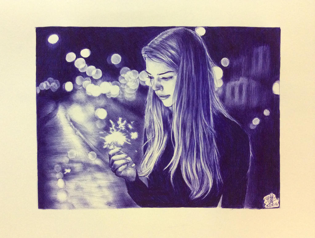 Ballpoint pen drawing of a girl with a sparkler by chaseroflight