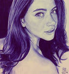 Ballpoint pen drawing of Thai actress Davika Hoorn