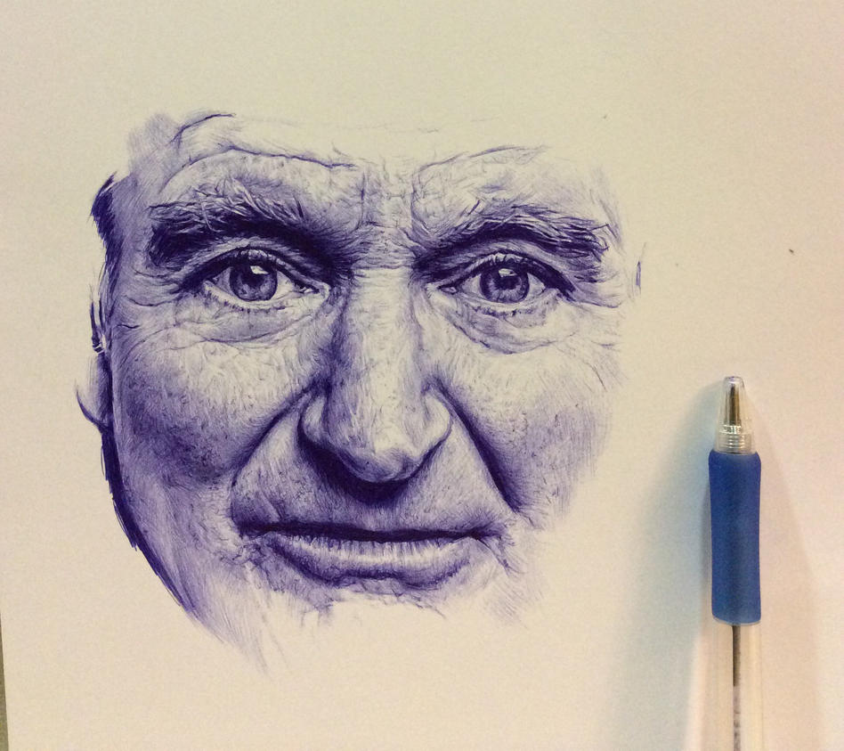 WIP: Ballpoint pen drawing of Robin Williams by chaseroflight