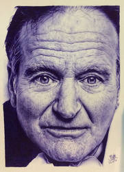 Ballpoint pen drawing of Robin Williams by chaseroflight