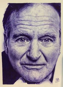Ballpoint pen drawing of Robin Williams
