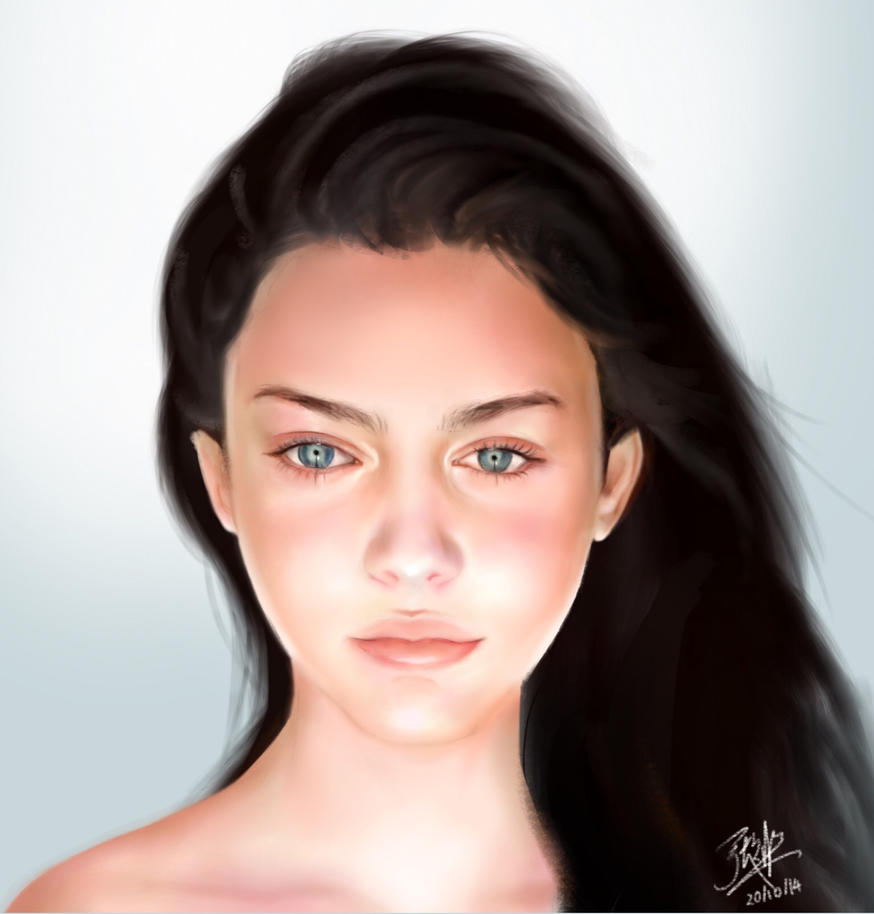 Ipad finger painting of Odeya Rush (comic style?) by chaseroflight