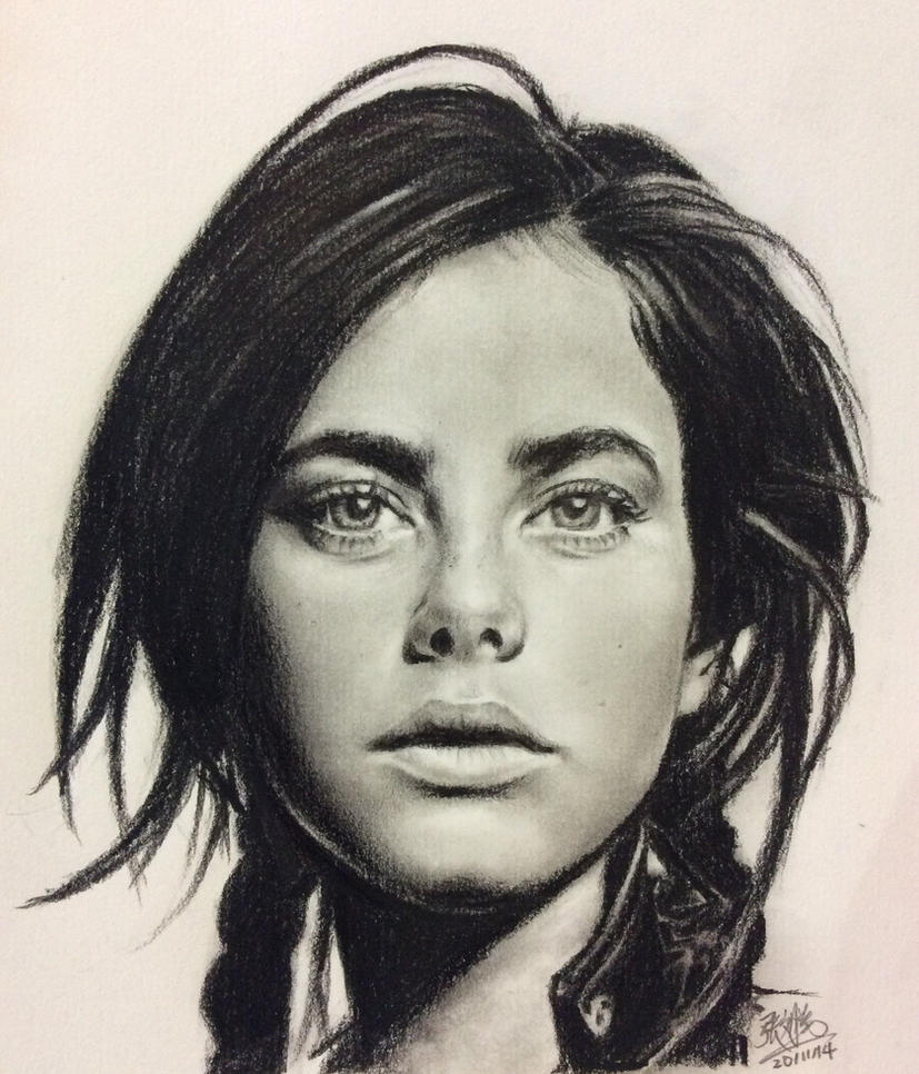 Pencil portrait of Kaya Scodelario by chaseroflight