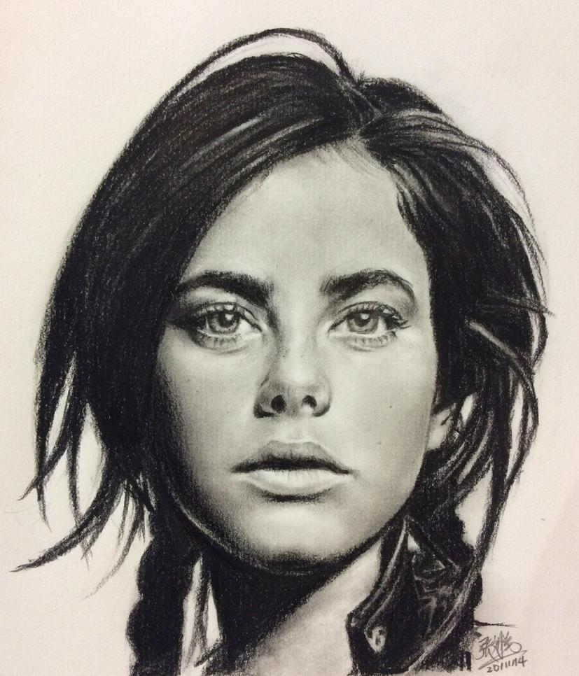 Pencil portrait of Kaya Scodelario by chaseroflight
