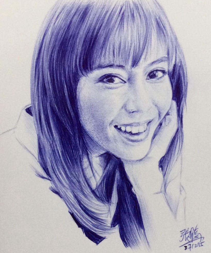 Bic ballpoint pen sketch of Olivia Ong by chaseroflight