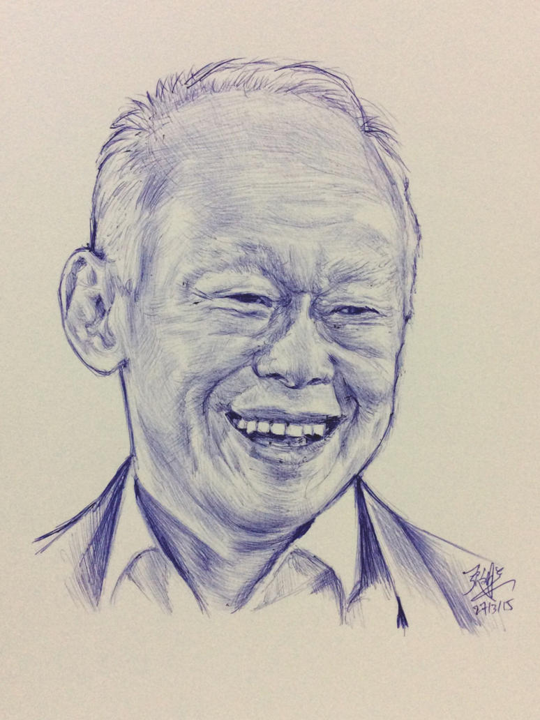 Ballpoint pen sketch of the late Mr Lee Kuan Yew by chaseroflight