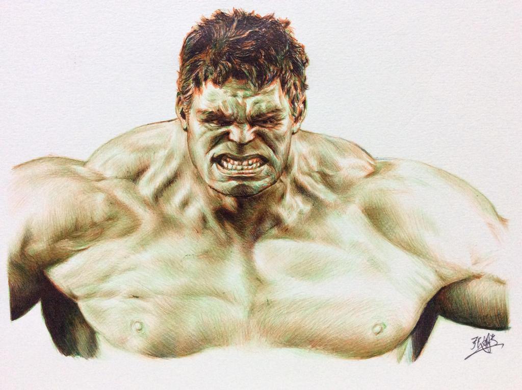 WIP: ballpoint pen drawing of Hulk by chaseroflight