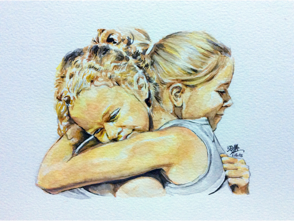 Sisterly love. Watercolor by chaseroflight