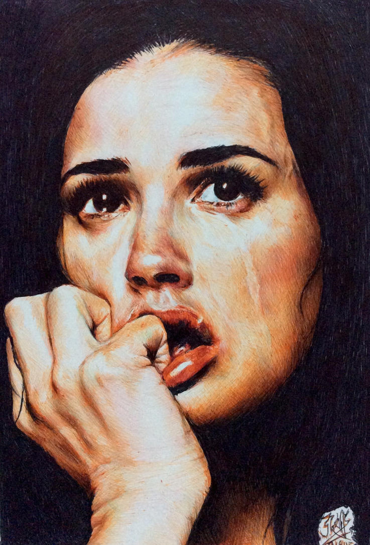 Ballpoint pen drawing of Demi Moore by chaseroflight