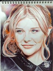 Pen drawing of Chloe Moretz by chaseroflight