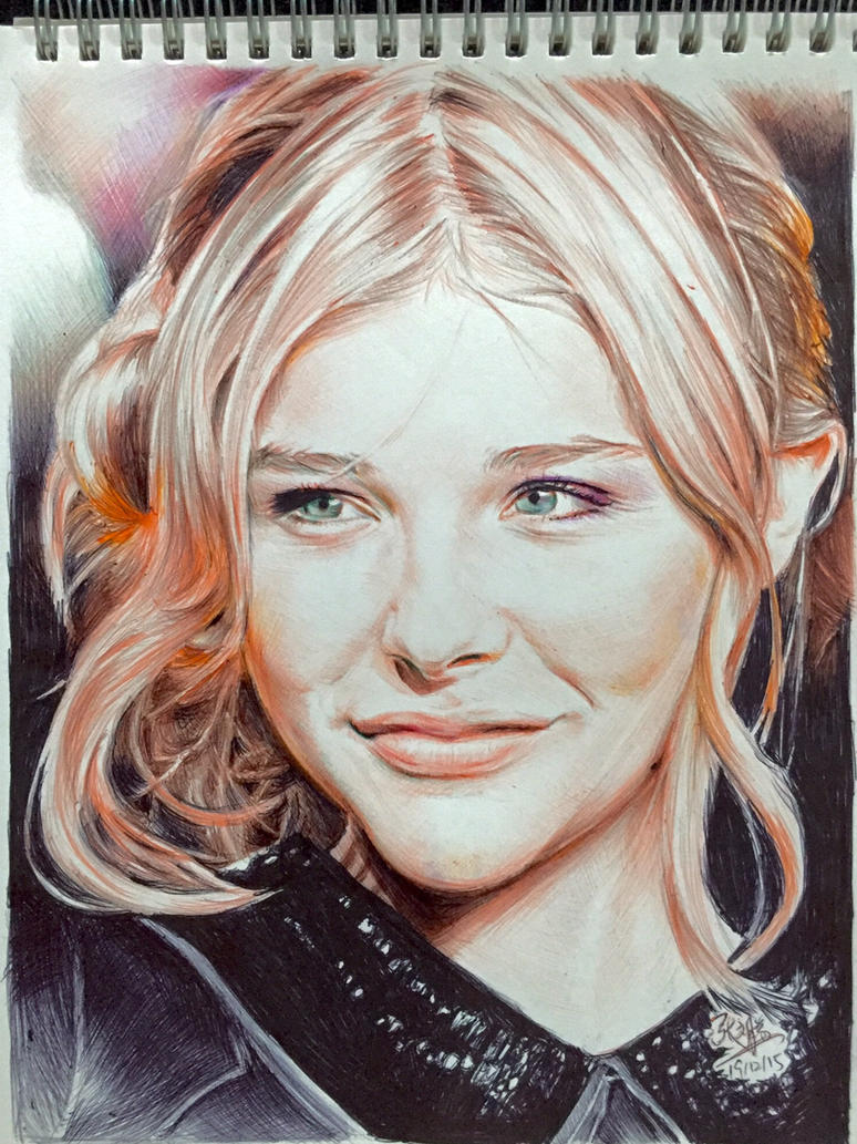 Pen drawing of Chloe Moretz by chaseroflight