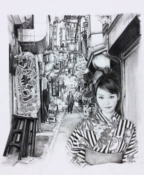Pencil drawing of actress Mirei Kiritani