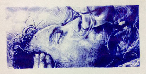 Ballpoint pen drawing of movie scene