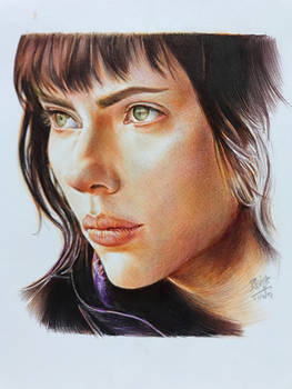 Ballpoint pen drawing of Scarlett Johansson