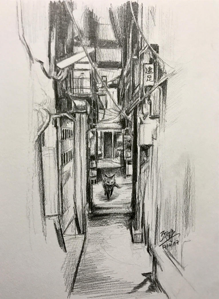 The visiting fox (pencil sketch) by chaseroflight