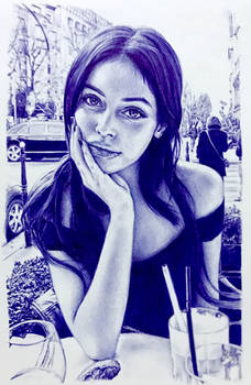 Ballpoint pen drawing of Cindy Kimberly