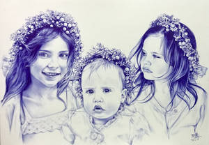 Ballpoint pen drawing of 3 beautiful little girls
