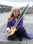 Crouching with the sword