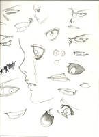 Practicing eyes and mouth by HellGab