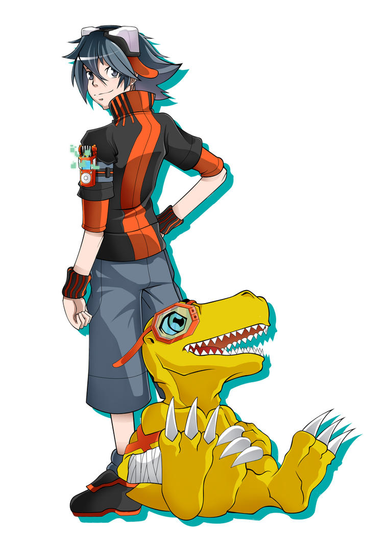 Taiga and Agumon XrossWars Hunters Style by HellGab