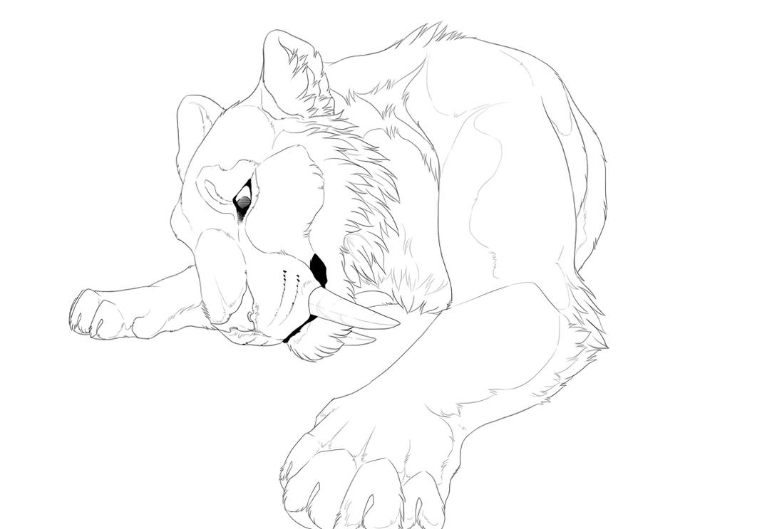 saber tooth coloring pages | Sabertooth lineart by Kium on DeviantArt