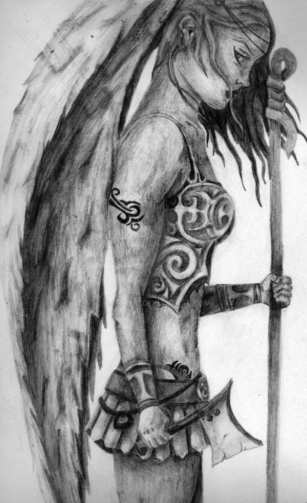female angel warrior sketch   hot girls wallpaper