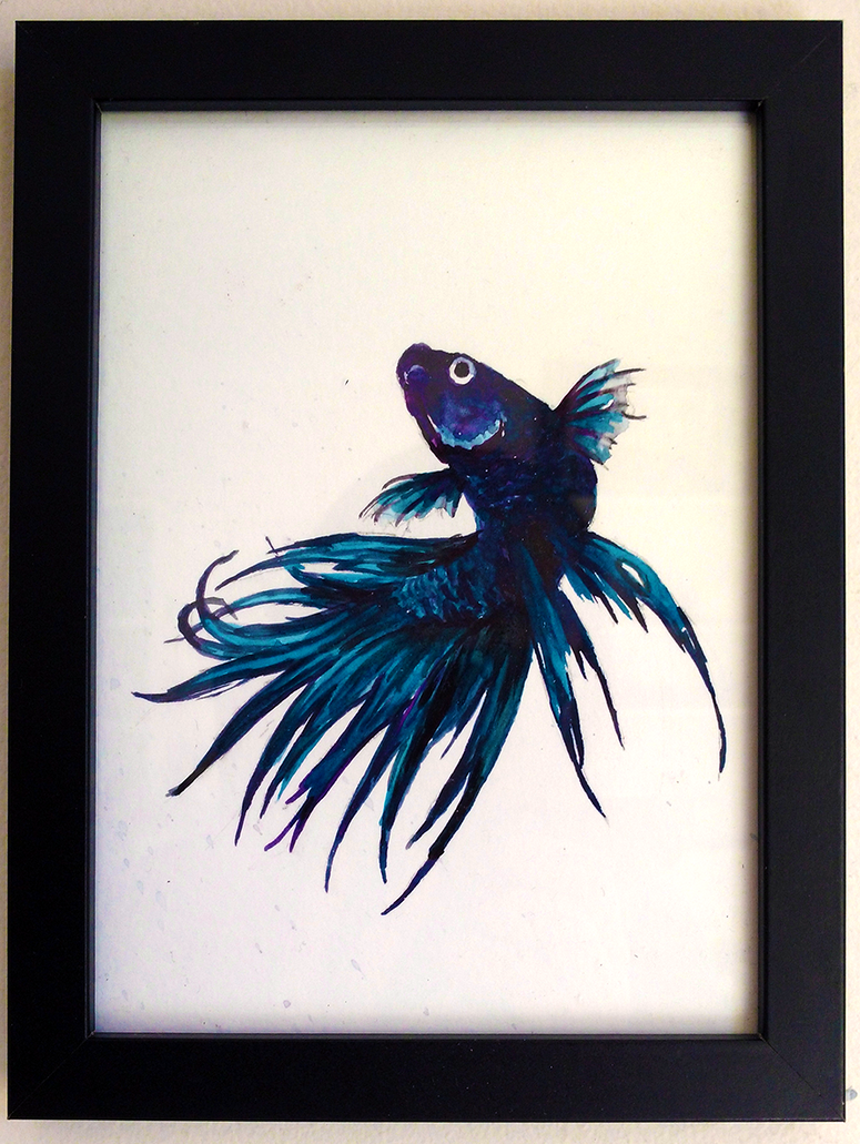 Watercolour Siamese Fighting Fish 2 By Canned Sardines
