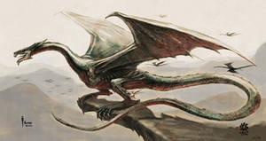 Dragon at cliff