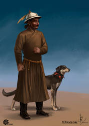 Mongol Noble with dog
