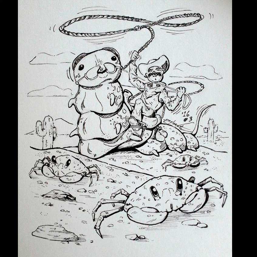 Inktober 2016 03 Letter C (Crab Collecting Cowboy) by webion