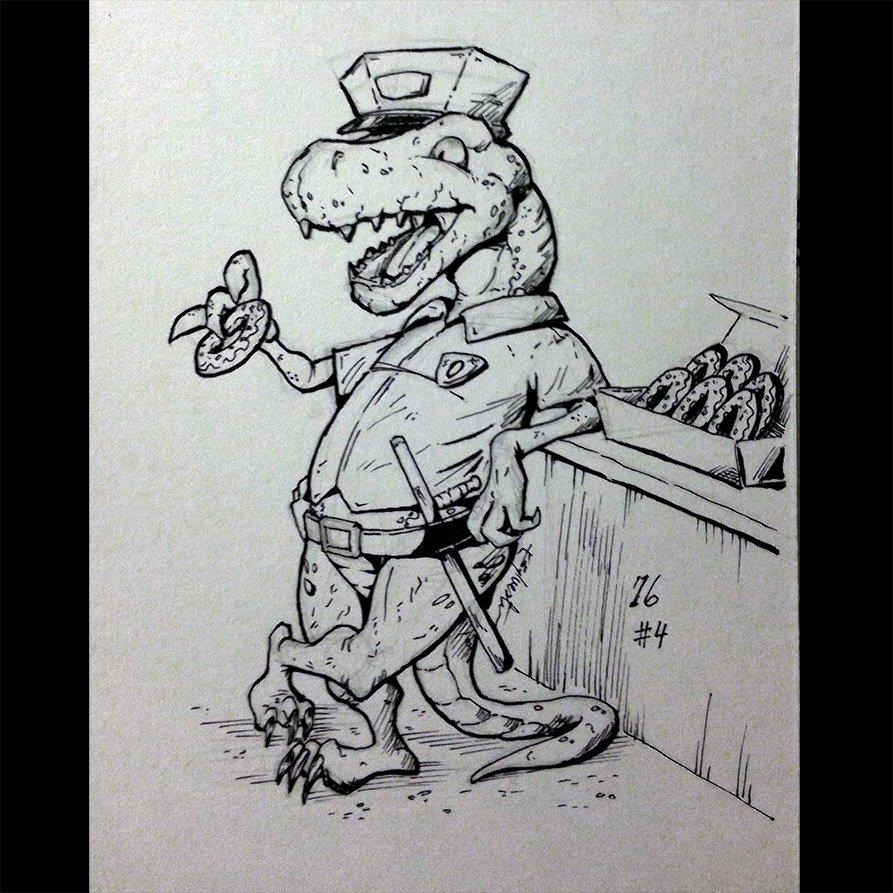 Inktober 2016 04 'Doughnut Eating Dino' by webion