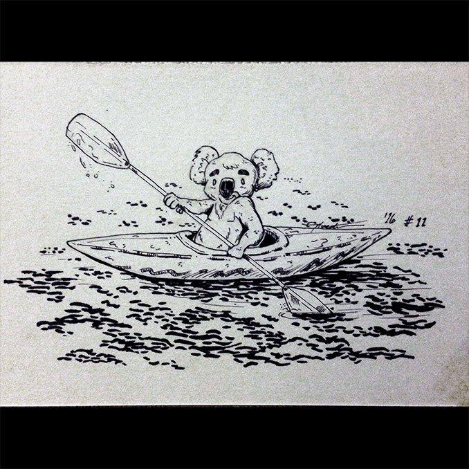 Inktober 2016 11 Letter K 'Kayaking Koala' by webion
