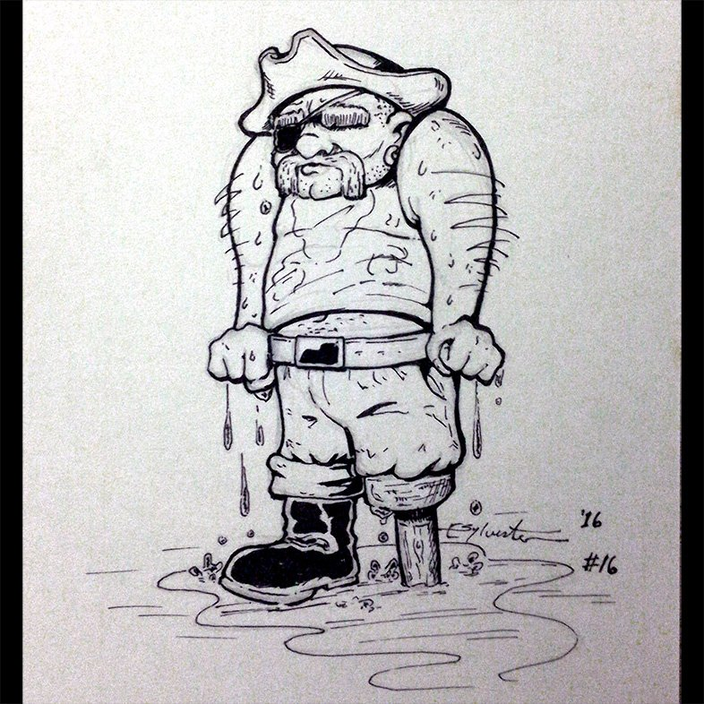 Inktober 2016 16 'Wet Pirate' by webion