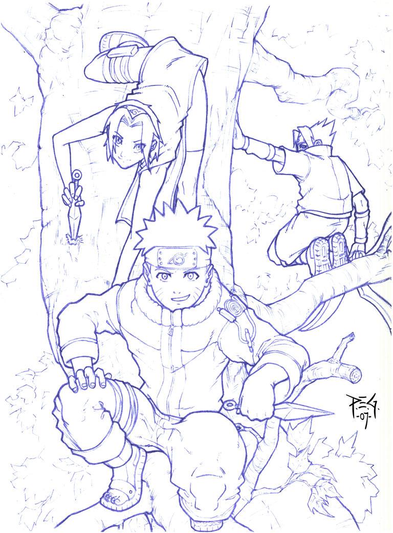 Naruto team in tree - sketch by madmagnus
