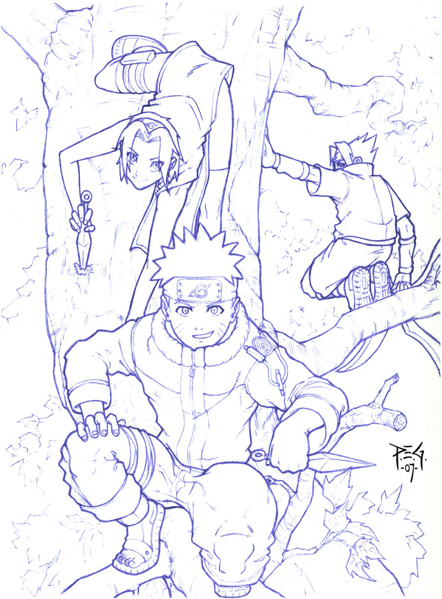 Naruto team in tree - sketch by madmagnus