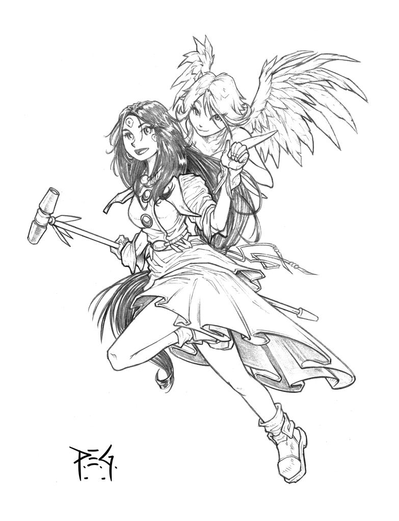 commission - Scarlet and Skuld by madmagnus