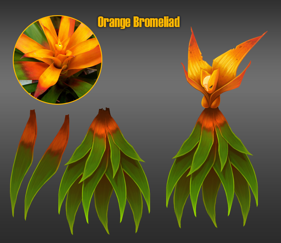 Character Design Flower Bromeliad Sprite orange by madmagnus