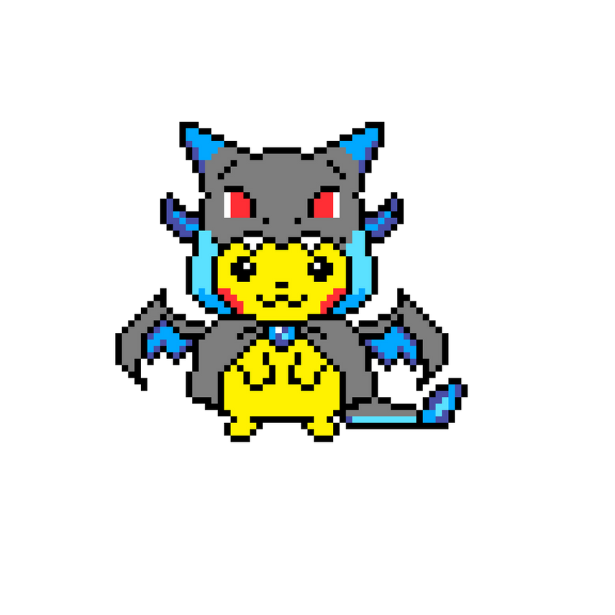 Pixel Art Pikachu In Mega Charizard Hoody By Angelisdark On