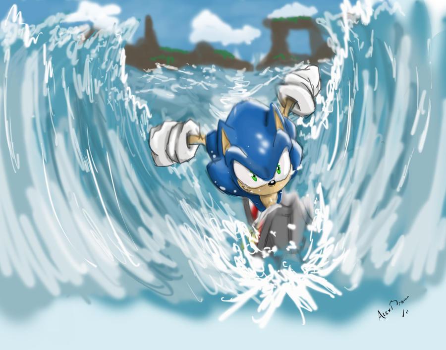 Espuma nas praias do RJ. Descoberta a verdadeira causa Sonic_treding_water_by_rhythmax-d3ingdx