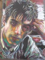 oil pastel self portrait 2 by woodb015