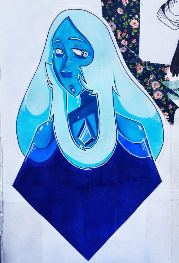 I drew this a couple days ago :3 It's blue diamond from the show steven Universe!