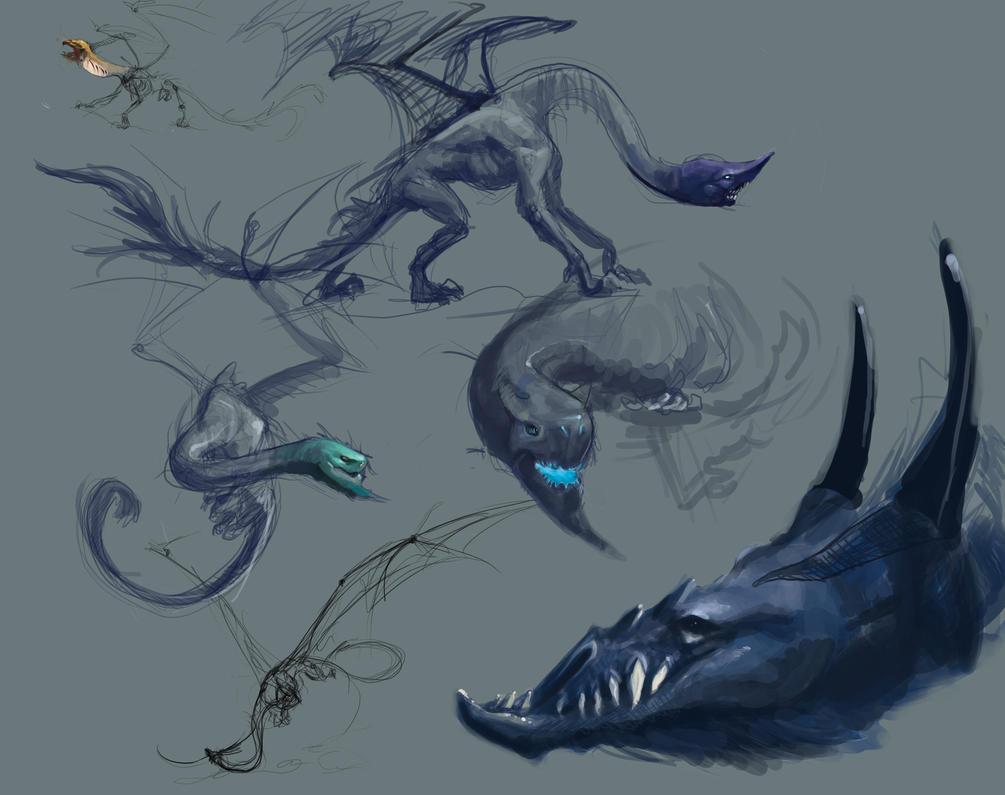 Dragon Sketches by Erebus88