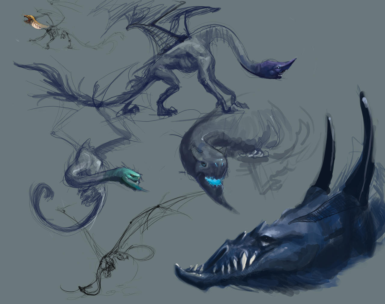 Dragon Sketches by Erebus88