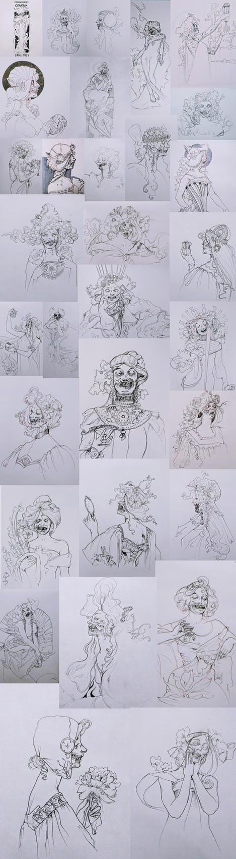Inktober 2017 - Zombie Nouveau by Erebus88