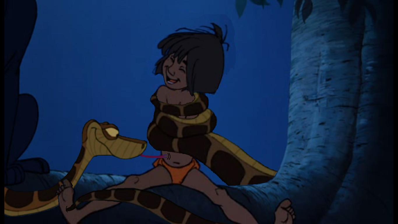 Kaa tickles Mowgli by YTuser87 on DeviantArt