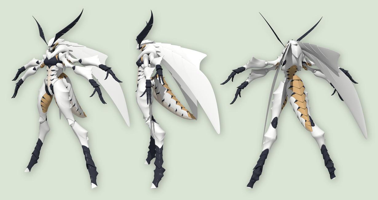 Laelynn - White Emine Moth - WIP 4 by Garm-r