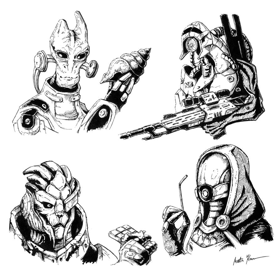 Mass Effect char sketches by mkozmon