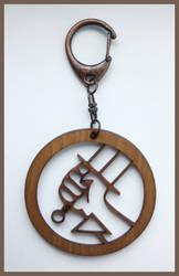 HELLBOY - wood keyring by Piciuu