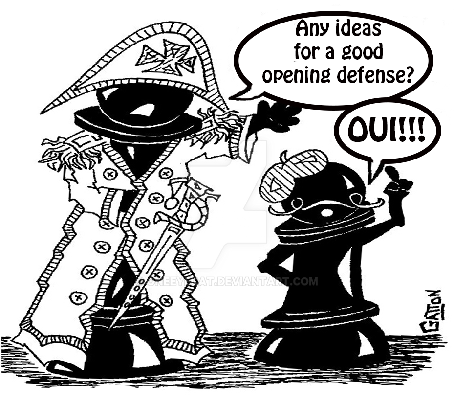 French Defense Chess Cartoon by Oneeyecat