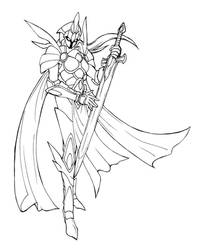 Female Knight concept - line by OniChild